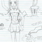 My costume sketch for my first Pika Girl costume.