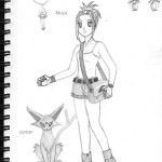 My Pokemon trainer with her beloved Espeon.